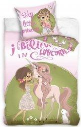 Pościel z Jednorożcem dla dzieci  160x200 Carbotex 100% bawełna Biało Zielona - Różowa dla dziewczynki wz NL195079