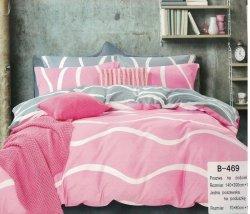 Pościel Mengtianzi 140x200 Szara - Różowa 100% bawełna B-469