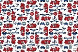 Pościel dla dzieci z Jaśkami - Samochodziki 160x200 cm 100% bawełna - Tęcza wzór T-109. Pościel dla chłopca z samochodami.