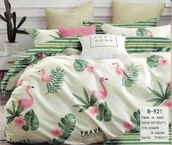 Pościel Mengtianzi Ecru - Zielona we Flamingi 200x220 100% bawełna B-921. Pościel we Flamingi 200x220.