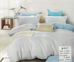Pościel Mengtianzi 160x200 Popielata - Niebieska 100% bawełna wz B-917