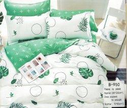 Pościel Mengtianzi 180x200 Biała - Zielona w Kwiaty 100% bawełna B-950