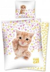 Pościel młodzieżowa 3D 160x200 z kotkiem The Cat Detexpol 100% bawełna. Pościel 3D z Kotem 160x200