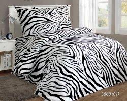 Pościel bawełniana 160x200 Biała w Zebrę Luxury 100% bawełna. Biało - Czerna pościel 160x200