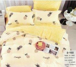 Pościel Mengtianzi 160x200 Zółta - Ecru w Ananasy 100% bawełna wz B-988