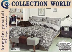 Pościel Collection World 160x200 Brązowa w Kwiaty 100% bawełna wz 594