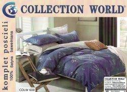 Pościel Collection World 160x200 Szara - Granatowa w Kwiaty 100% bawełna wz 600