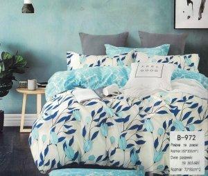 Pościel Mengtianzi 160x200 Ecru - Błękitna w Kwiaty 100% bawełna wz B-972