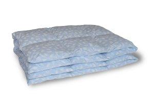 Kołdra pióra gęsie darte ręcznie 140x200 Niebieska w białe piórka. Kołdra PolPuch