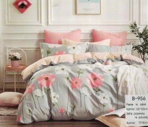 Pościel Mengtianzi 140x200 Szara - Różowa w Kwiaty 100% bawełna wz B-956