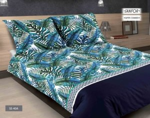 Pościel satynowa Matex Exclusive 200x220 Biała w Liście  wz SE-40A