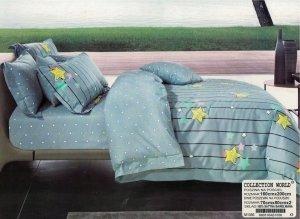 Pościel Collection World 160x200 Szaro - Niebieska w Gwiazdki 100% bawełna wz 1056
