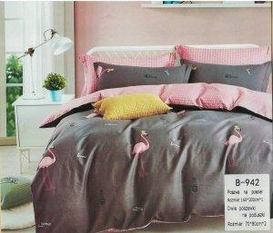 Pościel Mengtianzi 160x200 Grafitowa - Różowa we Flamingi 100% bawełna wz B-942