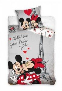 Pościel młodzieżowa Myszka Mickey i Minnie Paryż 160x200 cm 100% bawełna. Myszka Minnie Paris.