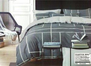 Pościel Collection World 160x200 Grafitowa - Szara 100% bawełna wz 986