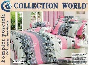 Pościel Collection World 200x220 Szara - Różowa w Kwiaty 100% bawełna wz 181