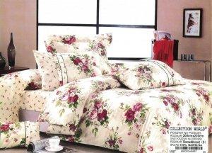 Pościel Collection World 200x220 Ecru w Kwiatki  100% bawełna wz 667