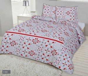 Pościel Flanelowa 200x220 Biało - Szara w Czerwone Kwiaty Matex 100% bawełna wz. F-56A