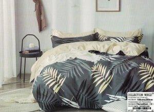 Pościel Collection World 140x200 Szara - Ecru w Liście 100% bawełna wz 1297