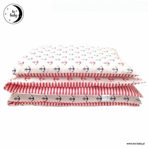 Komplet pościel dla niemowląt 100x135 + 40x60 Granatowo - Czerwone Kotwice 100% bawełna Poldaun