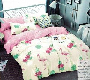 Pościel Mengtianzi 160x200 Ecru - Różowa we Flamingi 100% bawełna wz B-957