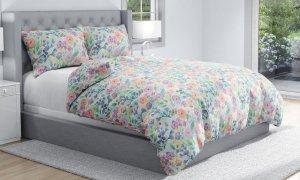 Pościel bawełniana Kolorowa w Kwiaty 140x200  Carbotex 100% bawełna ROT 208001