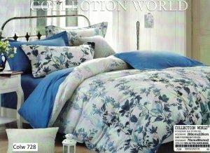 Pościel Collection World 200x220 Szara - Niebieska w Kwiaty wz 728