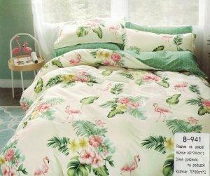 Pościel Mengtianzi 160x200 Ecru - Zielona we Flamingi  100% bawełna wz B-911