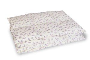 Kołdra półpuch gęsi 200x220 cm Ecru w fioletowe piórka. Kołdry Polpuch
