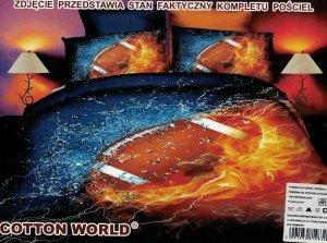 Pościel Rugby 3D Piłka 160x200 100% mikrowłókno Cotton World Football