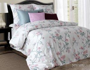 Pościel satynowa Luxury 160x200 Jasna w Kwiaty 100% bawełna. Pościel w kwiaty 160x200