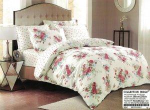 Pościel Collection World 200x220 Ecru w kwiarty 100% bawełna wz 841