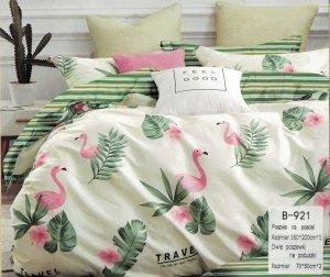 Pościel Mengtianzi 160x200 Ecru - Zielona we Flamingi  100% bawełna wz B-921