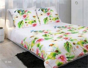Pościel satynowa Matex Exclusive 200x220 Biała w Kwiaty  wz SE-34A