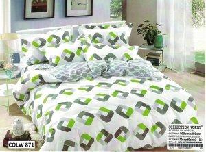 Pościel Collection World 160x200 Szara - Zielona 100% bawełna wz 871