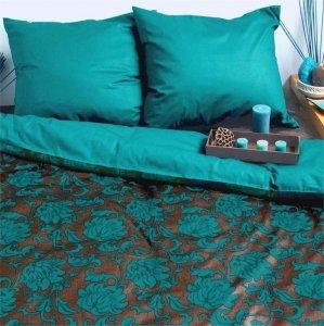 Ekskluzywna pościel satynowa Andropol 200x220 cm 100% bawełna wz. 17 490/6. Turkusowa pościel 200x220