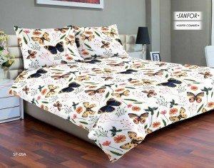 Pościel satynowa Matex Premium 200x220 Biała w motyle SP-09A
