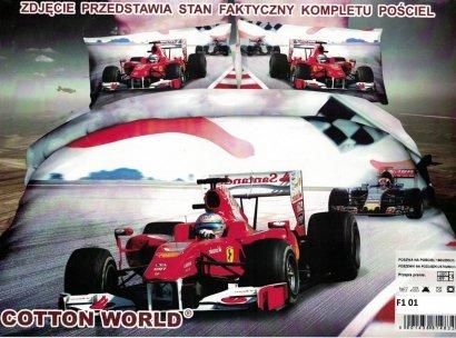 Pościel 3D Formuła F1 Ferrari 160x200 Cotton World 100% mikrowłókno wz. F1 01