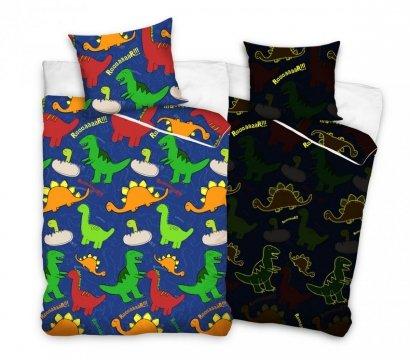 Świecąca w nocy pościel dla dzieci z Dinozaurami 140x200 cm Carbotex 100% bawełna. Dinozaury 140x200