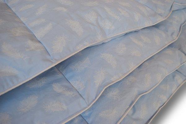Kołdra pióra gęsie darte ręcznie 200x220 Niebieska w piórka