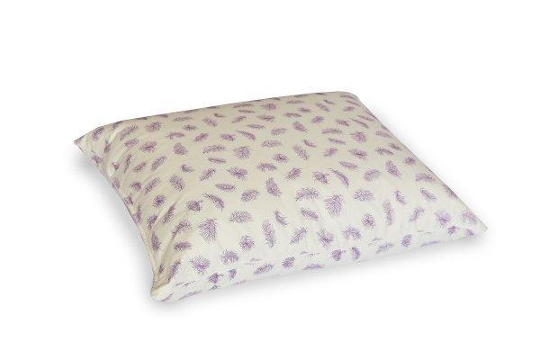 Poduszka z półpuchu 50x60 cm Ecru w fioletowe piórka Polpuch