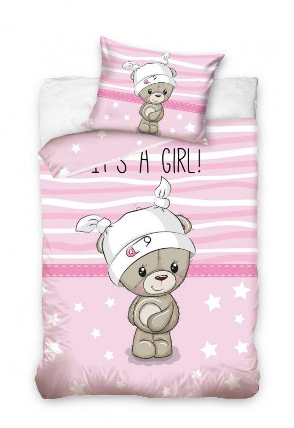 Różowa pościel dla niemowląt 100x135 z Misiem