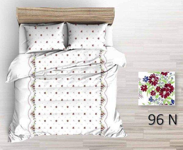 Biała pościel w kwiaty, ciepła pościel flanelowa 160x200, Tęcza wzór 96