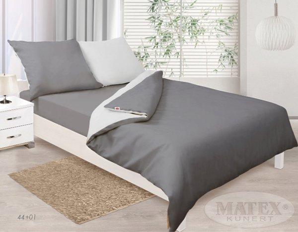 Pościel satynowa Matex Exclusive 160x200 cm 100% bawełna Szara - Biała wz 44+01