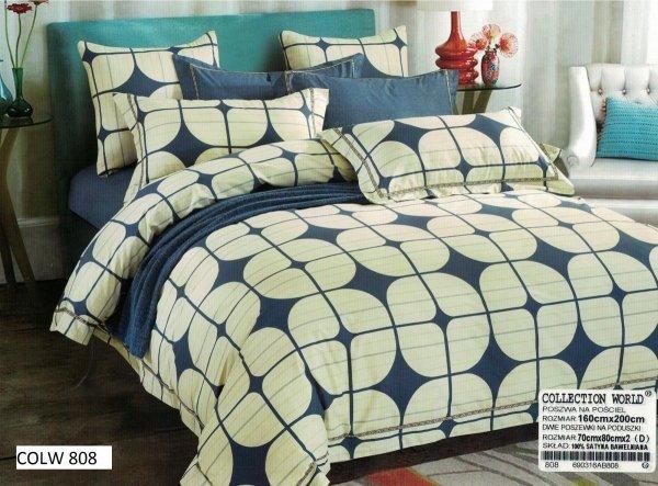 Pościel Collection World 160x200 Ecru - Niebieski wz 808
