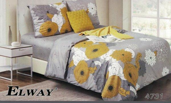 Szaro - Żółta pościel w kwiaty 160x200 Elway 4731