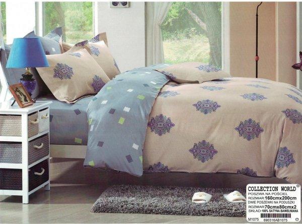 Pościel Collection World 160x200 Szaro - Niebieska wz 1075