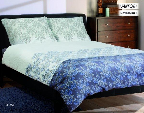 Szaro - Niebieska pościel satynowa Matex 160x200 cm