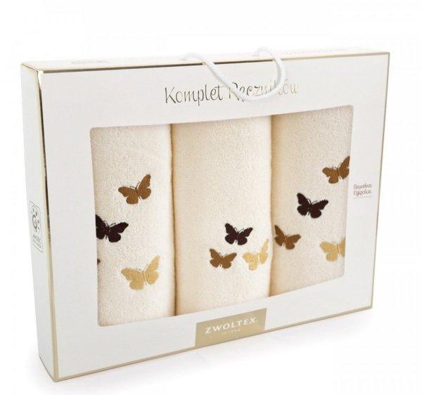 Komplet ręczników kąpielowych Zwoltex Motyle Ecru 3 Częściowy