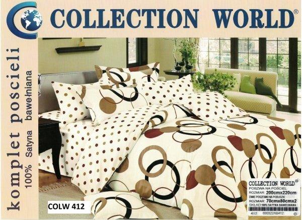 Pościel Collection World 200x220 Ecru - Brąz wz 412